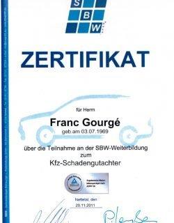 Zertifikat SBW-Weiterbildung Kfz-Schadengutachter