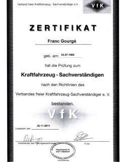 Zertifikat Prüfung für Kfz-Sachverständige