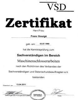 Zertifikat Sachverständigen im Bereich Maschinenschlosserarbeiten