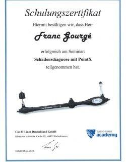 Zertifikat Point X Schulung Franc Gourge